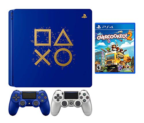 PlayStaion 4 Overcooked! 2 Days of Play Limited Edition Bundle: PlayStation 4 Days of Play Limited Edition 1TB Console, Overcooked! 2 Game and Extra Silver Dualshock 4 Wireless Controller