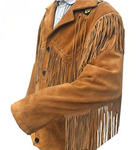 SleekHides Mens Western Suede Leather Jacket with Fringes /& Beads