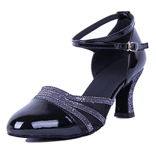Des Mädchens Der Frauen Professional Latin Schuhe Obermaterial Satin Sandalen Salsa / Ballroom Dance Schuh Med (weitere Farben) Black