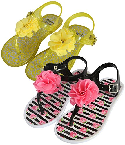 Stepping Stones Girls 2 Pack Jelly Flower Thong Sandals, Yellow/Black-White, 9 M US Toddler'