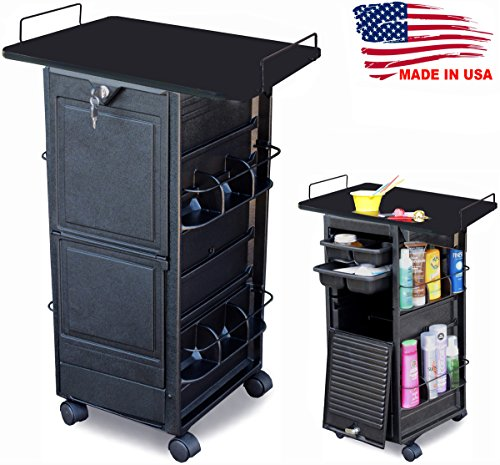 N20-PT Salon SPA Roll-about Cart w/Lockable door & 109-BLACK TOP MADE IN USA by Dina Meri