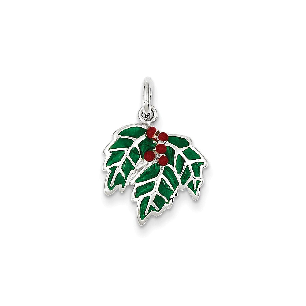 0.8IN long x 0.6IN wide Sterling Silver Enameled Holly Charm