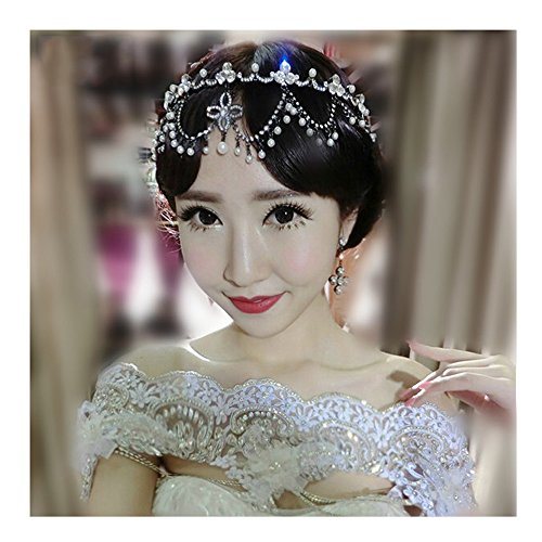 KAKA(TM) Bridal Wedding Pearl Headdress Flower Hair Accessories Bling Rhinestone Handmade Headwear (Zebra Shower Head compare prices)