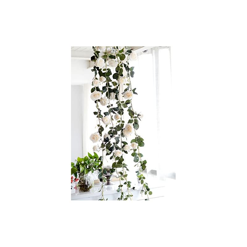 silk flower arrangements get orange 2 pack 72 inch rose garland artificial rose vine with green leaves flower garland for home wedding decor (2, white)