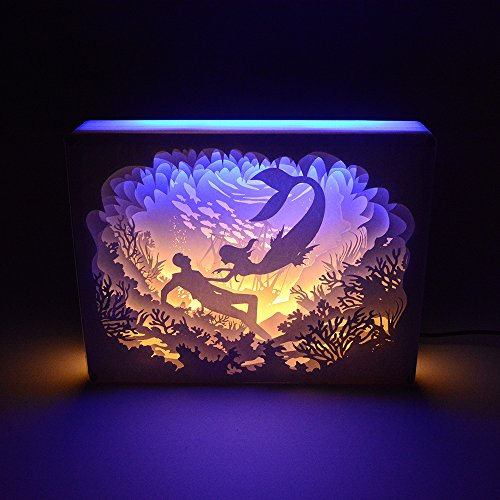 Paper-cutting Light Box, 3D Paper Carved LED Night Light,1.7W USB Charged, Decorative Lamp for Kids and Adults, Baby Nursery Bedroom Living Room Night Lamp (Mermaid)