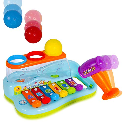 Rainbow Xylophone Baby Piano Pound and Tap Bench - Kids Musical Toy Instrument with Color Sorting Balls and Hammer Pounding for Toddlers ()