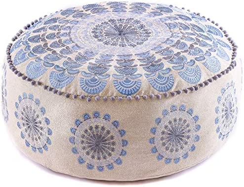 Mandala Life ART Bohemian Pouf Ottoman Cover – Luxury, Artisan Room D cor Pouffe for Meditation, Yoga, and Boho Chic Seating Area Stool Floor Pillow Case Accent Your Living Room, Bedroom