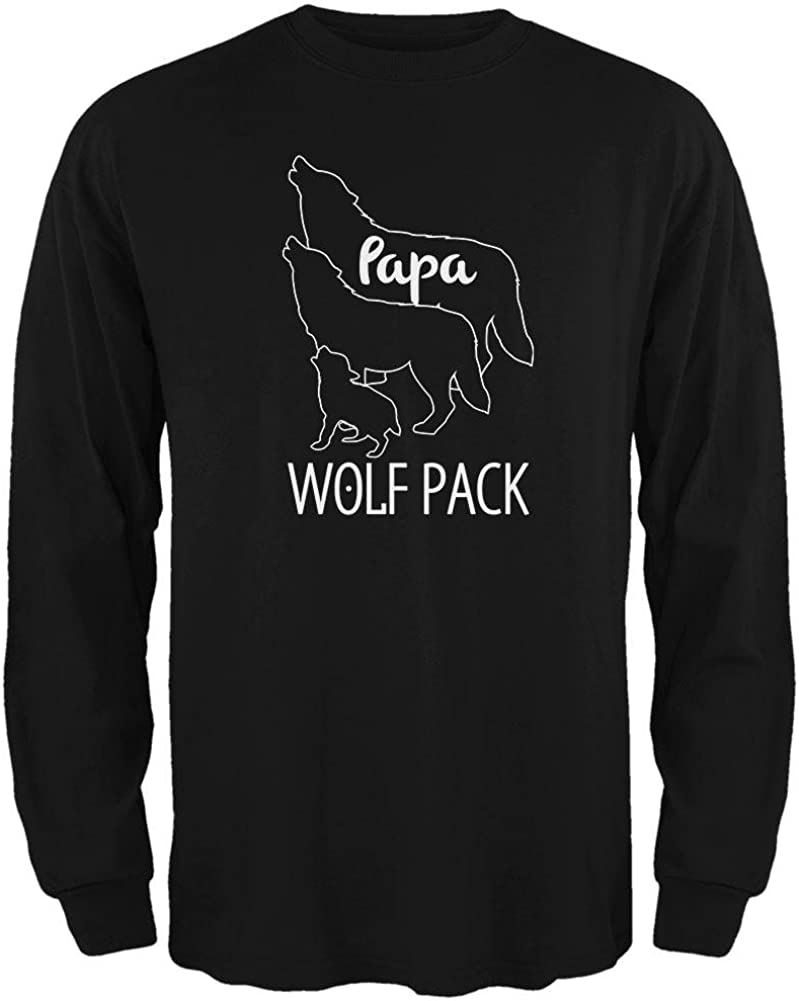 Wolf Pack Papa Dad Father Mens Long Sleeve T Shirt