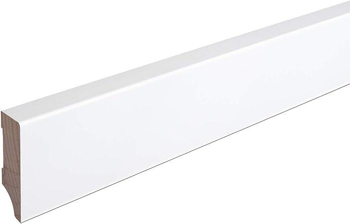 SPARPAKET 120mm H/öhe, 1 St/ück // 2,3lfm Echtholz-Sockelleisten Wei/ß lackiert Buche Massiv Weimarer Profil