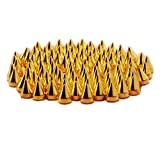 SODIAL(R) 9.5mm 100pcs Screw back Gold Cone Spikes Studs Leather craft DIY Punk Spots Bullet