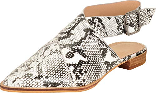 Cambridge Select Women's Pointed Toe Crisscross Strappy Slingback Low Heel Mule,8 B(M) US,White/Black Snake PU