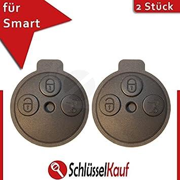 2x Smart Gehäuse Schlüssel 3 Tasten Fernbedienung Funk Ersatz Knopf ForTwo Gummi