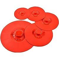 BESTONZON 5pcs Couvercles Extensibles en Silicone Réutilisables Hermétiques Résistant à la Chaleur pour Aliments (Rouge)