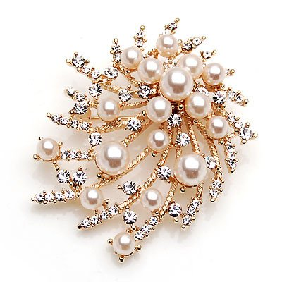 Pearl brooch trend wild flower pattern coat female models birthday gift large new gold fashion business (Brooch Wildflower)