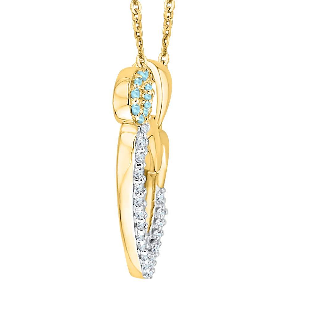 1//6 cttw, I-J, I1-I2 KATARINA Diamond and Gemstone Angel Heart Pendant Necklace in 10k Gold