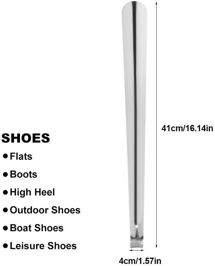 Acier inoxydable brillant M/étal Argent/é Corne de bottes /à chaussures avec poign/ée en boucle pour homme femme enfants Seniors Long chausse-pied en m/étal