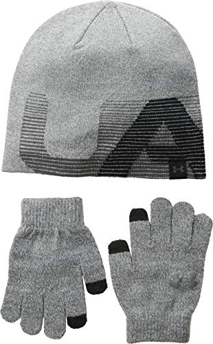 Under Armour Boy's Beanie/Gloves Combo (Little Kids/Big Kids) Steel/Black/Charcoal One Size