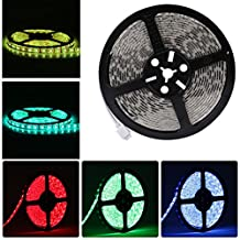 LEDMO RGB Waterproof IP65 Flexible LED Light Strip,DC12V LED Strip Light,LED Tape,300LEDs DC12V Color Changing RGB 16.4Ft/5M 60LED/M LED Ribbon/ Light Strip