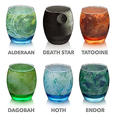 Star Wars Planetary Glassware 6 Piece Set -Death Star, Endor, Alderaan, Dagobah, Hoth, and Tatooine