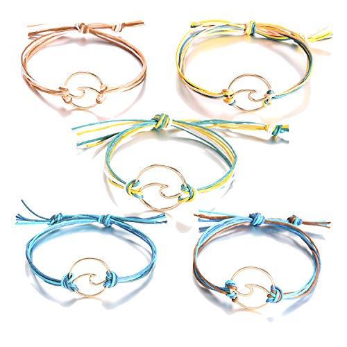 - Long tiantian 2 Pcs Summer Surfer Wave Anklet Bracelet for Woman,Adjustable Waterproof Ocean Wave Braided Rope String Bracelet Set (O-5set)