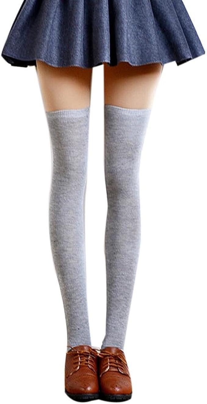 QinMM Calcetines altos sexy mujer muslo, medias de algodón (Gris ...