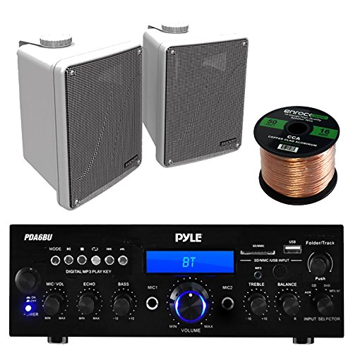 "Amp And Speaker Combo Packge: Pyle PDA6BU Bluetooth Radio USB AUX Amplifier Stereo Receiver Bundle With 2x Kicker KB6000W 6.5"" Full Range Bookshelf Waterproof Speaker + Enrock 50ft 16g Speaker Wire"
