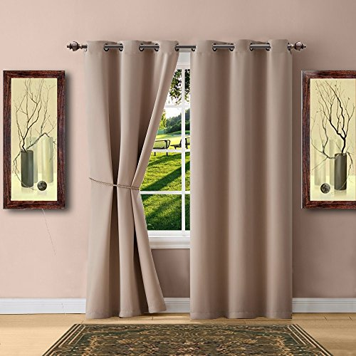 Warm Home Designs 1 Pair 2 Panels of Taupe Blackout Curtains with Grommets Each of 2 Insulated Thermal Window Panels is 38quot X 84quot in Size and Includes a Matching TieBack N Taupe Pair 38x84