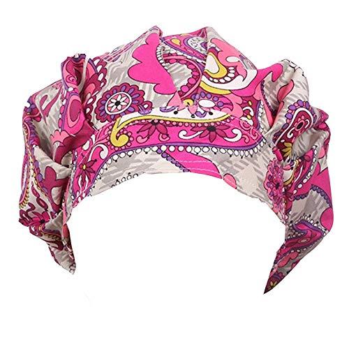 Doctor Classic Scrub Hat Adjustable Sweatband Bouffant Cap for Women Ponytail(Print 4)