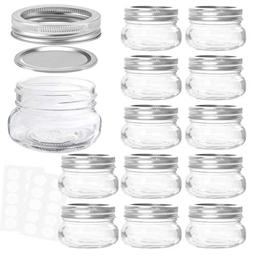 KAMOTA Mason Jars 4 oz With Regular Lids and Bands, Ideal for Jam, Honey, Wedding Favors, Shower Favors, Baby Foods, DIY Magnetic Spice Jars, 12 PACK, 20 Whiteboard Labels Included