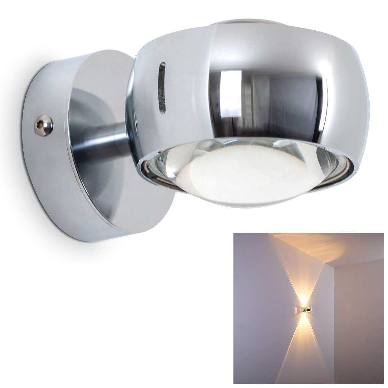 Effektlampe mit zwei gegen/überliegenden Licht-Kegeln Wandlampe geradlinig verchromte Metall-Leuchte f/ür das Wohnzimmer das Esszimmer oder die K/üche mit hochwertigem Glas-Schirm