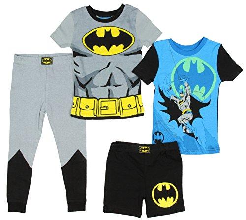 Komar Kids Boys Batman 4pc Pajama Set, Grey Multi, 7