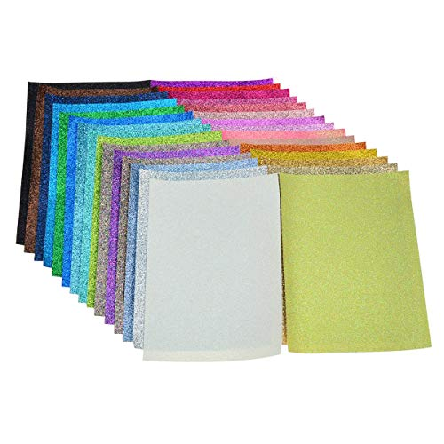 Glitter Fabric Faux Leather Sheets- 30 Pieces Assorted Colors A5 Size8X6 InchShiny Glitter Canvas Sheets for Bows, Earrings, Hair Accessories Making(30 Colors, Each Color One Sheet