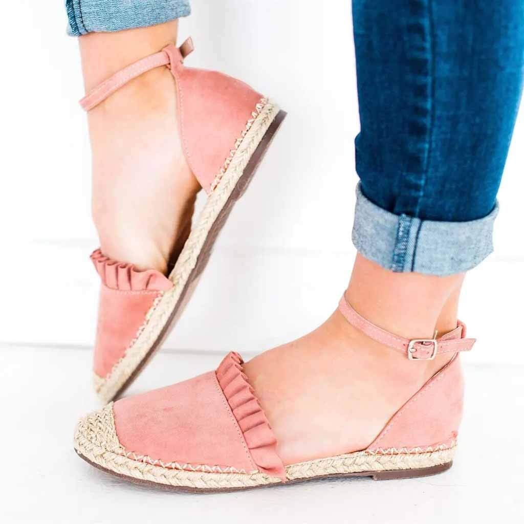 Thenxin Women's Fashion Retro Rope Flat Sandals Casual Shoes Straw Linen Buckle Ruffle Pumps Shoes (Pink,8 US) by Thenxin (Image #2)