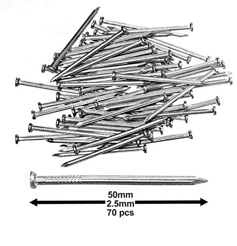 Pack of 70 Hardened Ribbed Steel Masonry Nails 2.5x50mm (1