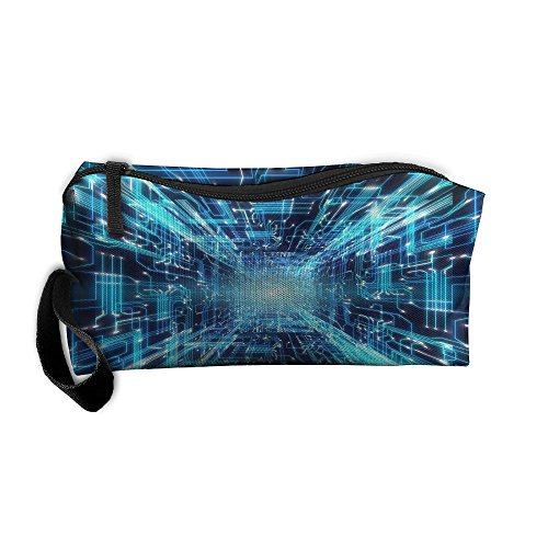 Kla Ju Portable Pencil Bag Purse Pouch Radiation Pattern Stationery Storage Organizer Cosmetic Holder ()