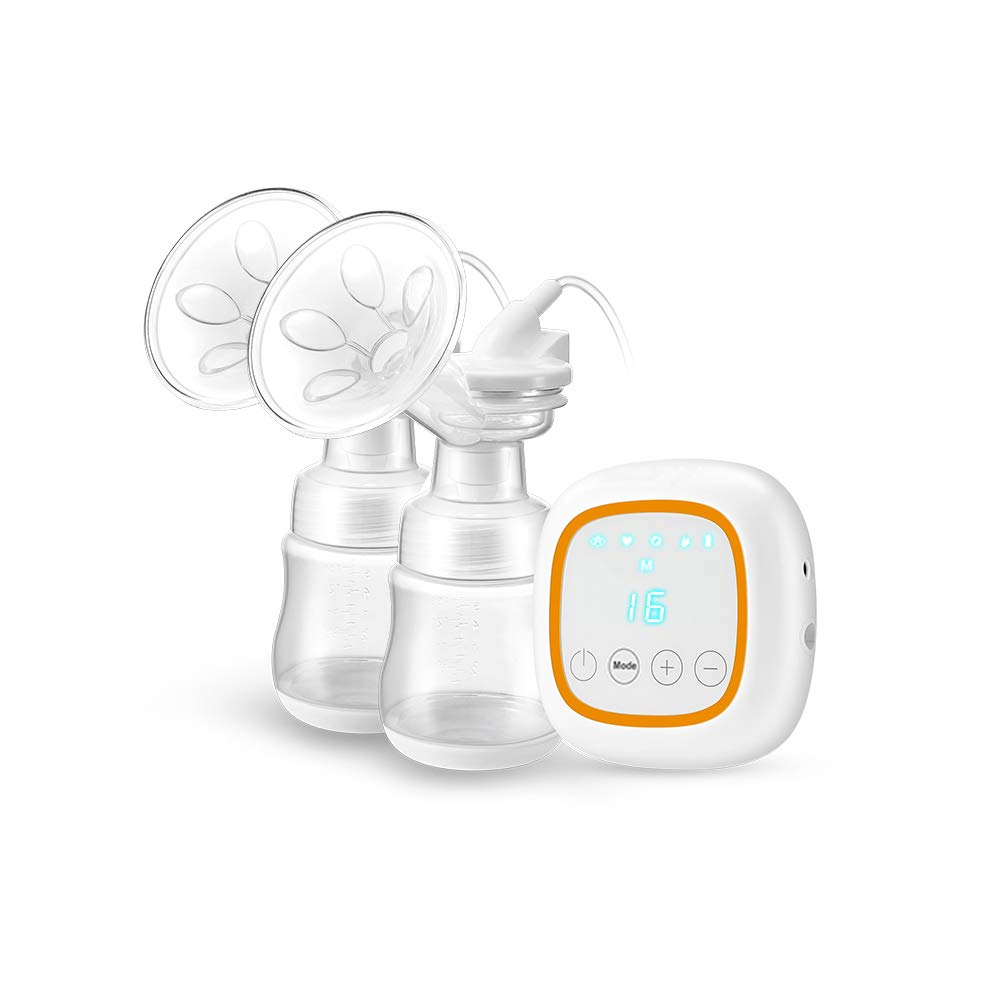 Double Electric Breast Feeding Pumps Pain Free Strong Suction Power Touch Panel with USB Charging Battery LED Display BPA Free