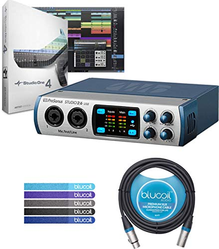 PreSonus STUDIO 26 2x4 Portable USB Audio Interface Bundle with Studio One Recording Software, Studio Magic Plug-in Suite, Blucoil 10-ft Balanced XLR Cable and 5 Pack of Cable Ties