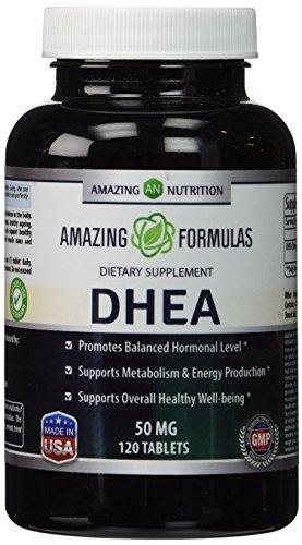 Étonnantes formules DHEA supplément - 50mg 120 comprimés déhydroépiandrostérone hormones comprimés pour hommes et femmes - facile à utiliser que les produits de poudre et de crème