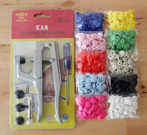 200 Sets Professional-Grade KAM 10 Mixed Color Lead-Tested Snaps Buttons & Snap Press Pliers for Cloth Diaper/Bibs/Unpaper Towels/Nappies/Buttons/Mama (Nappy Kit)