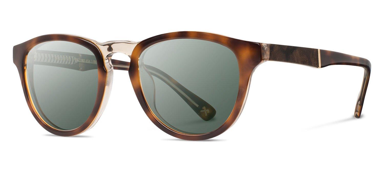 Shwood - Francis Acetate, Sustainability Meets Style, Brindle/Elm Burl, G15 Polarized Lenses