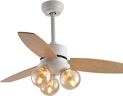 Lámpara de techo de alta gama, abanico de madera, cuerpo blanco de ...