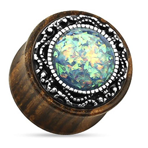 Green Synthetic Opal Tribal Pattern Organic Wood Double Flared Plug 00G (Organic Double Plugs Wood Flared)