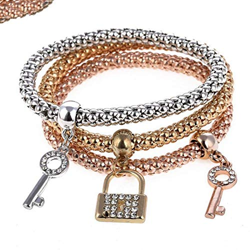 (SONGBB Bracelet 3Pc Personality Lock & Key Shape Braceletglamorous Gold Silver Plated Rhinestone Alloy Pendant)