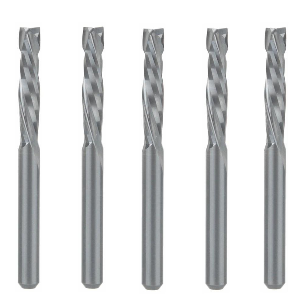 HOZLY UP & Down Cut 3.175x17mm Two Flutes Spiral Carbide Tool for CNC Router Compression Wood End Mill Cutter Bits Pack of 5