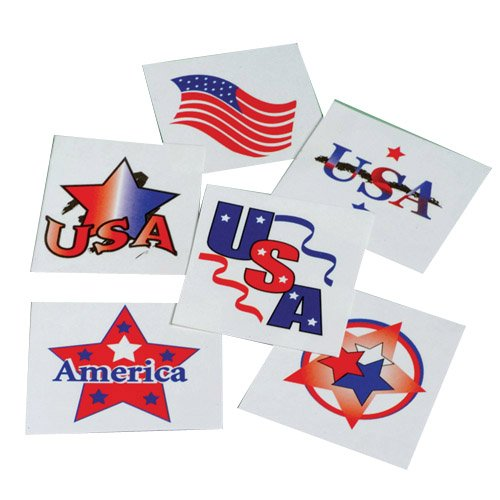 Assorted Patriotic Design Temporary Tattoos (144)