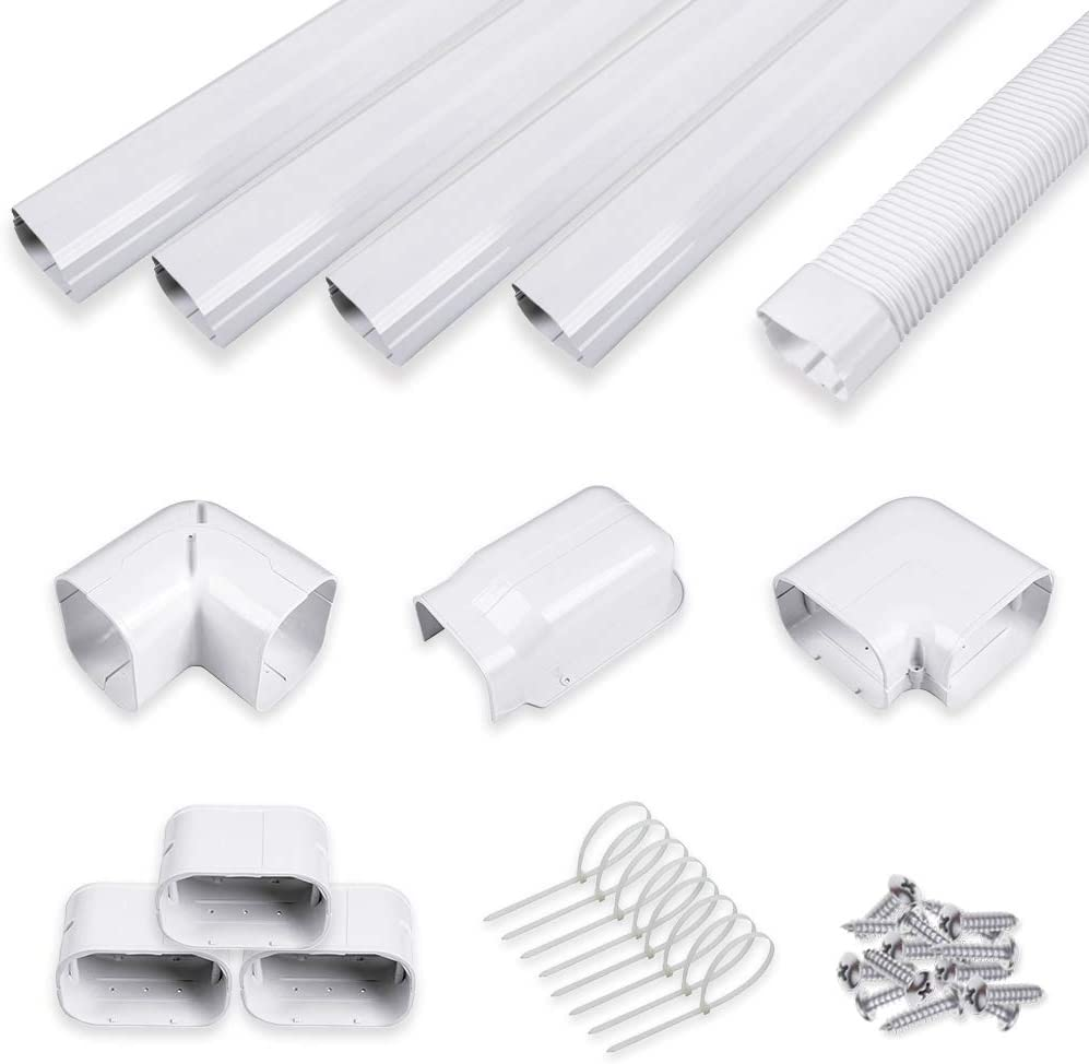 "LYPREM 4"" 14Ft PVC Decorative Line Cover Kit for Ductless Mini Split Air Conditioners"