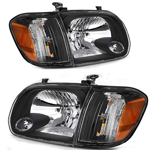 For 2005 2006 Toyota Tundra DOUBLE CAB 2005 2006 2007 Sequoia Pickup Headlight Assembly Headlamp Replacement Pair,Black Housing Amber Reflector,One-year - Tundra Headlight Replacement Toyota