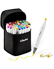 48-Color Art Markers Set, Ohuhu Dual Tip, Brush Sketch Marker for Kids, Artist, Students, Brush Markers for Sketching, Adult Coloring, Calligraphy, Drawing and Illustration Markers (Brush&Chisel Tips)