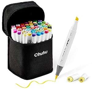 48-Color Art Markers Set, Ohuhu Dual Tip, Brush & Chisel, Sketch Marker for Kids, Artist, Students, Alcohol Brush Markers for Sketching, Adult Coloring, Calligraphy and Illustration,