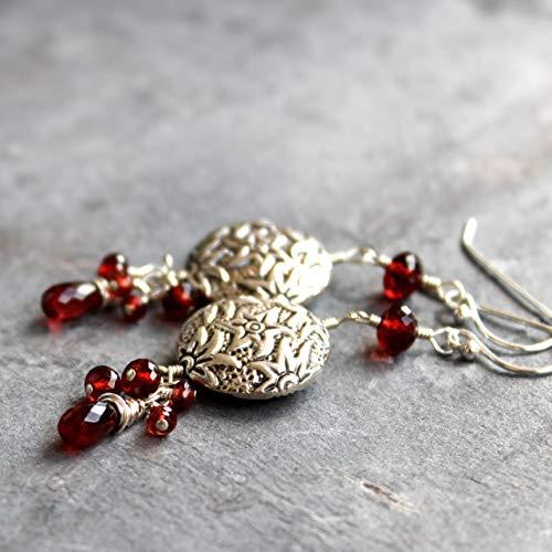 Statement Garnet Earrings Sterling Silver Red Dangles Textured Star Beads